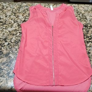Pink zip front blouse